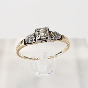 Vintage 14kt Yellow Gold Engagement Ring Art Deco